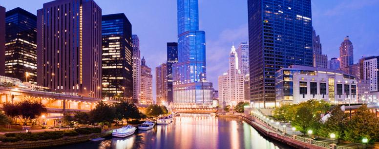 Night shot of Chicago skyline
